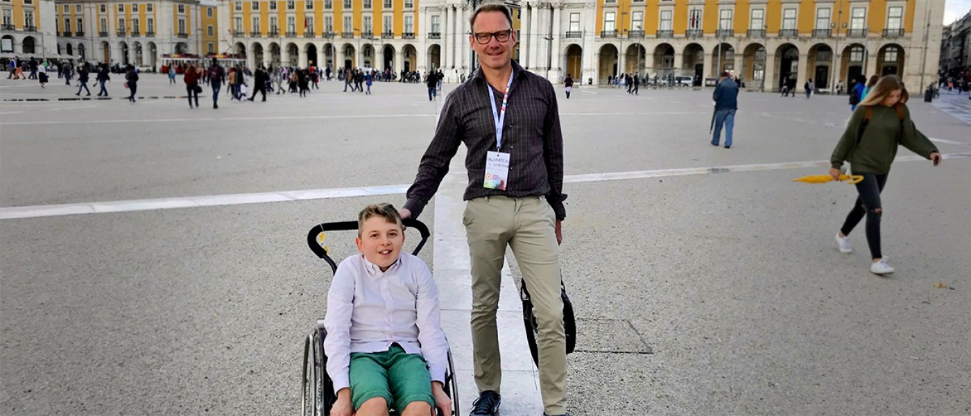 Sebastien and his son Teo in Lisbon during a tech event.
