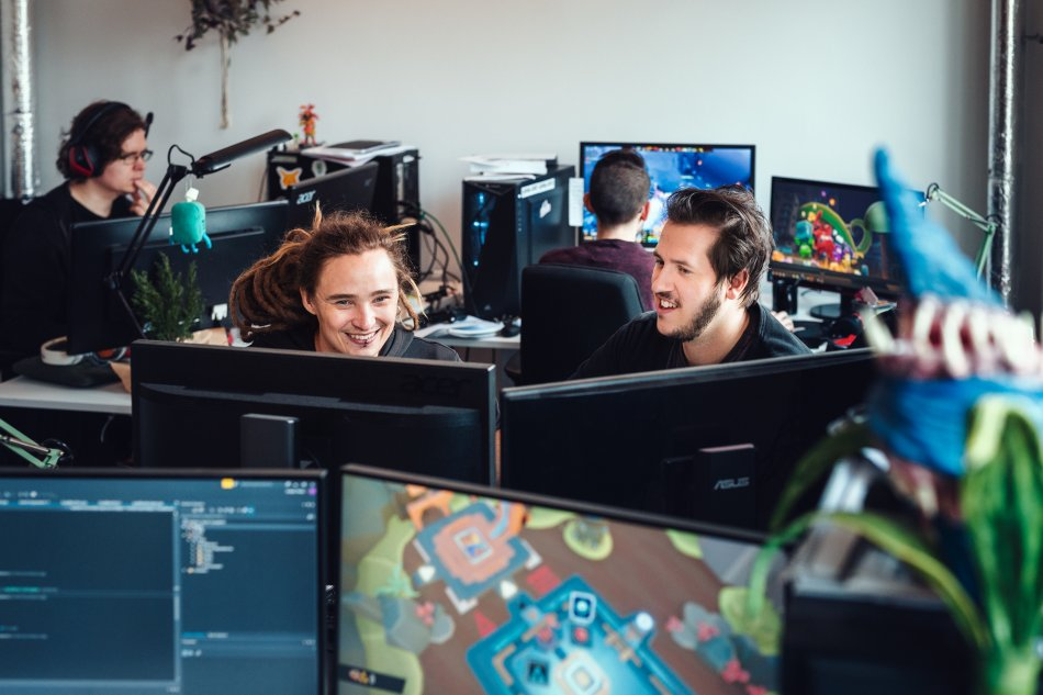Two game developers at Dev Hub